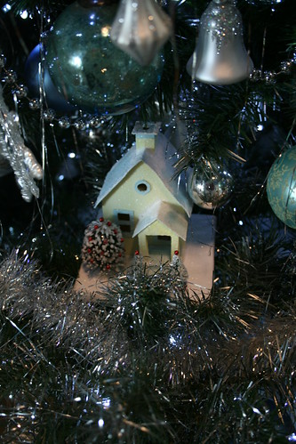 Putz house in the Christmas tree