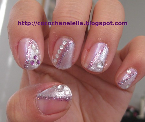 Nail art - Silver metallic, purple glitter, rhinestone nails