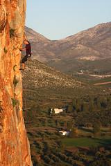 "Yogi chasing the light on ""the way to Arcturos"" (Vertical Planar) Tags: rock way greece climbing limestone crux euvoia arcturos"