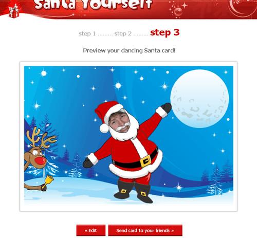 santa yourself at dancing santa card