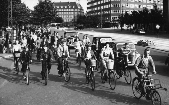 Copenhagen Rush Hour Traffic ca. 1950