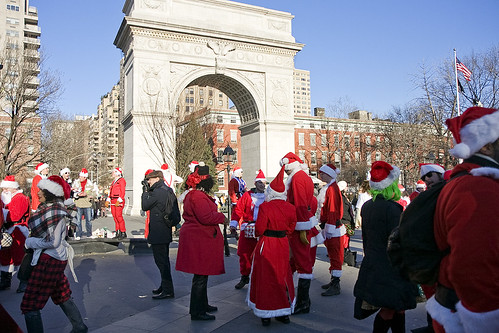 Santas in Washington Sq Park