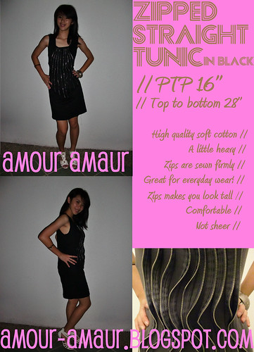 zipped straight tunic in black
