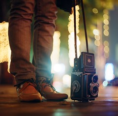 nite walk (Loray) Tags: 6x6 him shoes bokeh leg squareformat yashicamat loray ev3 pejalin