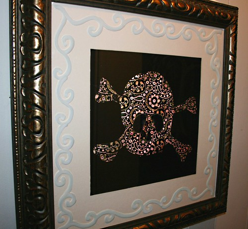 "Framed Paisley Skully 26"" x 26"" by Rick Cheadle Art and Designs"
