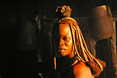 Himba woman in natural evening light (Sallyrango) Tags: africa people woman african culture tribal safari afrika tribe ethnic namibia tribo himba afrique ethnology tribu namibie tribus ethnie