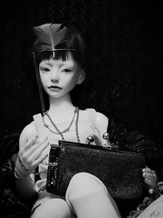 Challenge: 1900 - 1950 (tarengil) Tags: abjd bjd asian doll ws dollmore zaoll luv white skin resin 1920 challenge lingerie fashion style historic lace feather shiny cushion
