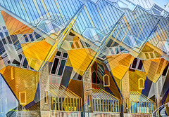 cube houses-3 (albyn.davis) Tags: architecture yellow buildings manipulation geometry angles windows modern contemporary color colorful bright vivid vibrant