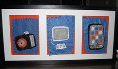 shawn's faves trio (createdbysteph) Tags: camera mac handmade embroidery framedart crafts gift stitching 2009 iphone elsiecake doodlestitching doodlestitch