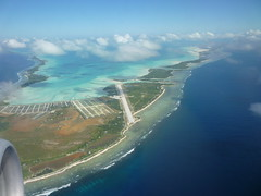 Tarawa, Kiribati aerial shot of the runway (retroppo) Tags: sea beach st clouds plane aerialview lagoon southpacific tropical runway kiribati tarawa gilbertislands airkiribati josephsftg