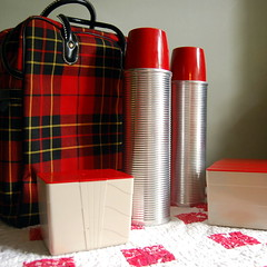 Vintage Plaid Picnic Set by American Thermos (calloohcallay) Tags: travel camping red set vintage retro plaid carrier thermos calloohcallay americanthermos