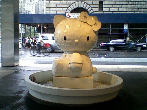Hello Kitty sighting on E. 53rd St. yesterday, NYC. Kawaii fountain!