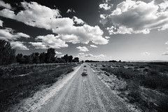 Dirt road (guissimo) Tags: california summer sky bw clouds canon wideangle 5d dirtroad 16mm centralvalley sanjoaquinvalley mercedcounty summer09 abigfave