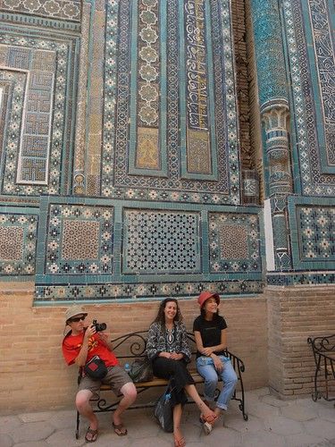 The crew rests at Shah-i-Zinda