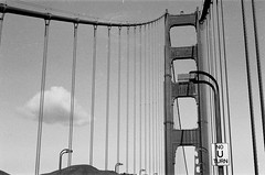 No U Turn (Pedro Silvares) Tags: sanfrancisco california bridge blackandwhite bw usa film unitedstates ilfordhp5 goldengate hp5 50mmf18d ilford nikonfg
