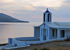 (Nick in Greece) Tags: morning pink sea sky church clouds dawn smooth chapel tradition andros aegeansea august27 korthi korthibay