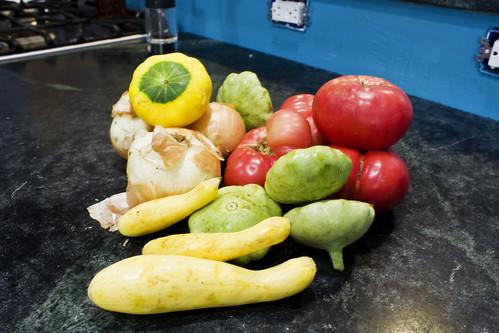 squash onions tomatoes