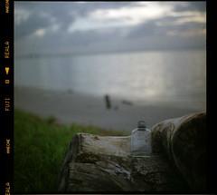 A bottle wash up ashore? - Message in the bottle. (khai_nomore) Tags: tree 120 tlr film beach sunrise mediumformat landscape availablelight negative scanned pushed milf rm yashicamat wideopen 2400dpi fujifilmreala100 23ev canonscan8400f yashinon80mmf35 autaut bayanmutiara shinkerb30skylightfilter1a fff001
