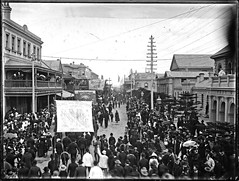 Eight Hour Day Parade(Today Labour Day) Hunter Street, Newcastle [1890] (Cultural Collections, University of Newcastle) Tags: newcastle australia nsw 1890 labourday hunterstreet eighthourday ralphsnowball snowballcollection ralphsnowballcollection asgn0754b35 newcastleregionnswhistorypictorialworks photographynewsouthwalesnewcastle