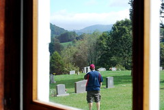 Looking out the window at CSP at St. John's Episcopal Church in Valle Crucis, NC