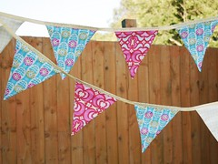 Cotton Bunting 'Flower Garden' (Hollie Lollie) Tags: pink blue red flower yellow fabric cotton turqoise bunting cottonbunting