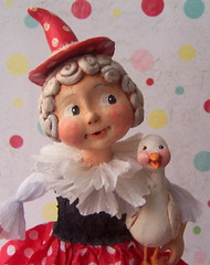 Mother Goose Upclose (thepolkadotpixie) Tags: art paper doll folk polka dot pixie clay mache mothergoose