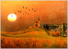 Once upon a time... (Jean-Michel Priaux) Tags: autumn sky orange sun sunlight france hot art texture church nature sunshine birds illustration photoshop automne painting spectacular landscape nikon paint dream vine peinture dreaming onceuponatime alsace unreal paysage legend glise chaud tale hdr colline anotherworld conte mattepainting warmtones rve d90 hunawihr legende irrel hunawhir priaux iltaitunefois vanagram vosplusbellesphotos saariysqualitypictures