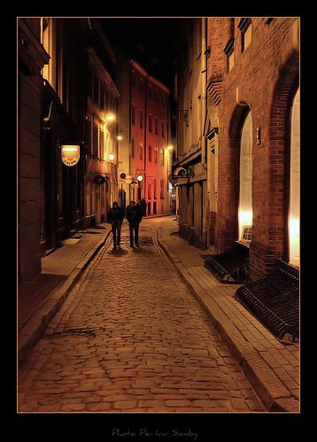 Riga old town at night by Per I..