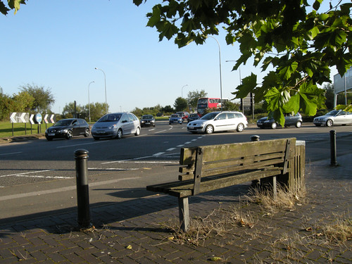Bench on roundabout on Coventry Road