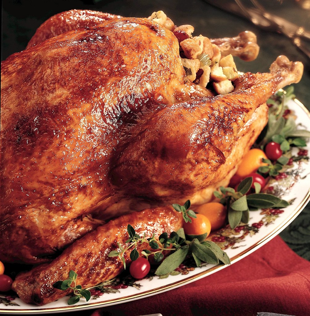 Glazed Roast Turkey with Cranberry Stuffing Recipe