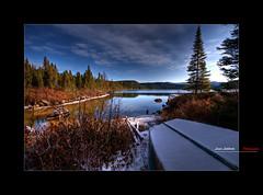 Winter under the snow (Louis Lalibert Photographie) Tags: sky mountain lake snow canada tree ice rock clouds boat nikon bluesky qubec hdr charlevoix sigma1020mm photomatixpro parcnationaldesgrandsjardins photoshopcs3 nikond300 louislalibertphotographie
