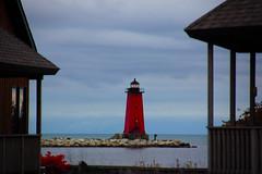 (amlapedalemap) Tags: lighthouse day cloudy michigan shoreline lakemichigan greatlakes lakemichiganshoreline