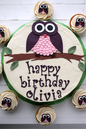 Olivia's owl cake and cupcakes