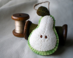 felted pear ornament (lilfishstudios) Tags: white green recycled handmade sewing craft felt ornament pear handsewn lilfishstudios feltedwoolsweater