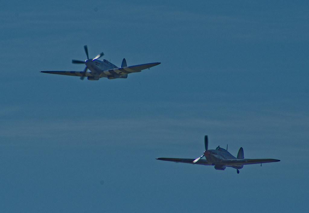Spitfire Mk XIX and Hurricane - Leuchars 2009 - BBMF