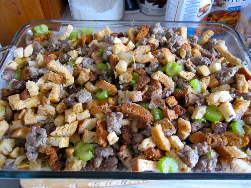 Thanksgiving Sausage Stuffing is in the oven!
