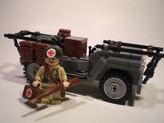 Willys Jeep ambulance & Medic (PhiMa') Tags: lego wwii ambulance ww2 medic worldwar2 allies bandofbrothers brickarms willysmbjeep