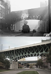 Locomotive on Eggleston 1940 and 2009 (mgsmith) Tags: railroad bridge ohio bw train vintage geotagged blackwhite track cincinnati 1940 railway viaduct transportation locomotive 2009 nelsonronsheim egglestonavenue