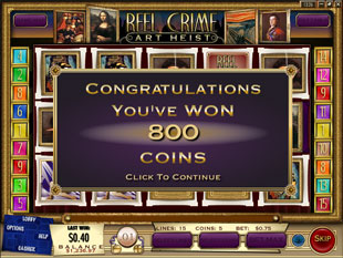 free Reel Crime 2 Art Heist slot bonus feature