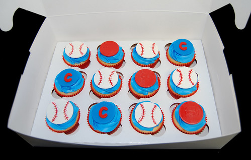 blue and red baseball themed birthday cupcakes