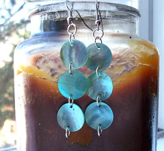 triple mother of pearl earrings (Simply Unique Kreation) Tags: fantastic teal earrings etsy dangle motherofpearl platinumplated