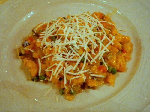 Pumpkin spaetzle in vegetable ragú
