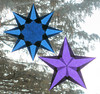 Purple And Blue Window Stars For Winter Solstice