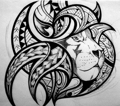 This is the chest section of a large Kirituhi tattoo design.