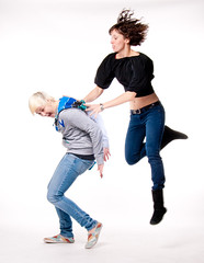 Attack (Stephanie Wesolowski) Tags: blue light portrait people white motion black blur female digital dark studio jump nikon boots action flash gray expressions jeans kinetic backdrop denim simple figures source bleached strobe cury