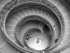 Spiral Staircase Vatican Museum (p.whyte) Tags: city people italy white black vatican rome roma museum stairs spiral italian nikon stair italia double staircase helix vaticanmuseum spiralstaircase romeitaly