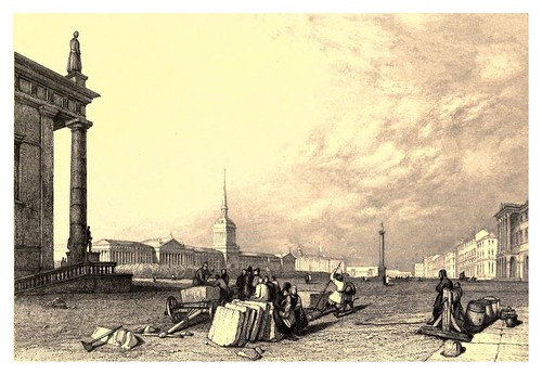 002-Plaza del Almirantazgo-A journey to St. Petersburg and Moscow 1836- Ritchie Leitch