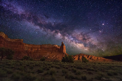 "Milky Way over Chimney Rock (IronRodArt - Royce Bair (""Star Shooter"")) Tags: milkyway chimneyrock capitolreef capitolreefnationalpark utah nightphotography nightsky nightscape universe starrynight starrynightsky stars"