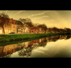 Parked BMW (Martyn Starkey) Tags: houses sky reflection clouds canal belgium ypres