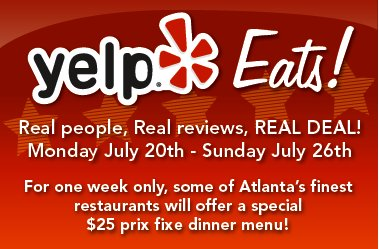 Yelp Eats! Restaurant Week Comes to Atlanta Monday, July 20 Through Sunday, July 26
